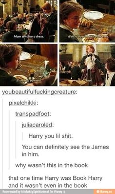 Sassy Harry. Definitely like James in this scene