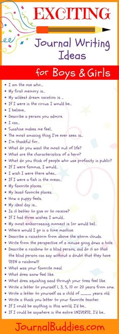 51 Exciting Journal Writing Ideas for Girls & Boys Sometimes we are full of writing ideas, while other times we can use some help. Boys and girls of all ages often need some help in the form of journaling prompts and ideas to get them started. Writing Topics, Kids Writing, Teaching Writing, Writing Activities, Essay Writing, Creative Writing, Writing Ideas, Teaching Kids To Write, Writing Centers