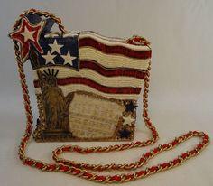 Mary Frances Handbag Box Bag Purse Stars Stripes Americana Red White Blue  #MaryFrances #ShoulderBag