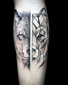 Wolf head tattoo, black and white