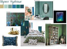 élégance mystérieuse, tendance, déco, maison, paon, vert, bleu, plumes