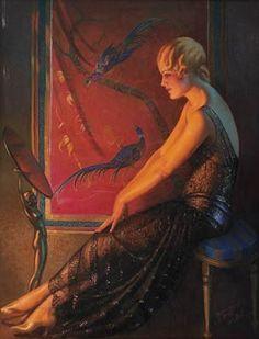 Gene Pressler - Artist, Fine Art Prices, Auction Records for Gene Pressler Art Deco Artists, Art Eras, 1920s Art, Pictures To Draw, Drawing Pictures, Art Deco Era, Pin Up Art, Illustrations, French Artists