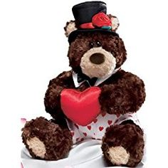 "Plush Valentines Teddy Bear ""Frisco"" By Gund- Wears White Boxers with Hearts, Top Hat, Bow Tie, Holding Plush Heart."