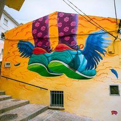 One for the Sneakerheads! Something new from Pekolejo in Cuenca Spain #streetart #streetartnews by streetartnews
