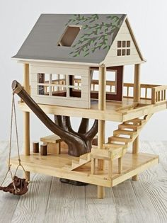 Woodworking For Kids - Shop Treehouse Play Set. We've scaled down the classic treehouse from Camp Wandawega to fit into your kid's playroom. Our Treehouse Play Set is made from wood, it's handpainted, and it features plenty of rooms for small dolls. Kids Woodworking Projects, Fine Woodworking, Wood Projects, Popular Woodworking, Woodworking Videos, Woodworking Furniture, Woodworking Workbench, Woodworking Classes, Woodworking Quotes