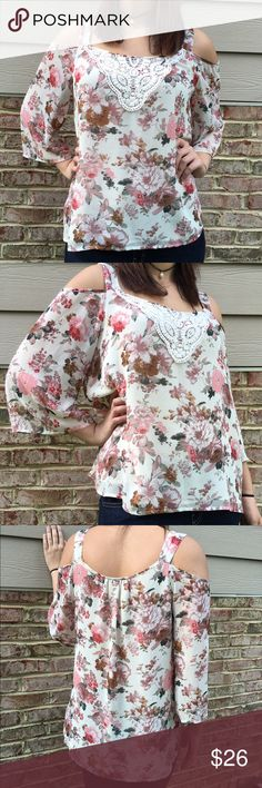 """Daniel Rainn Floral Cold Shoulder Top Beautiful floral prints on a cold shoulder top finished with crochet details on the neckline. Fully lined. Made of polyester. Worn twice. Measures from pit to pit 20.5""""/ length 25"""". Reasonable offers considered through offer button only. NO TRADES Daniel Rainn Tops Blouses"""