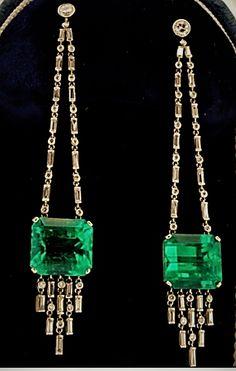 art deco diamonds & emeralds earrings (jm)