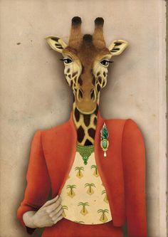 Colección Animalaria, Audrey la jirafa, José Luis Oliver Animal Paintings, Animal Drawings, Art Drawings, Royal Animals, Giraffe Art, Baby Drawing, Pet Costumes, Naive Art, Animal Heads