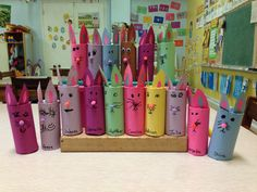 Easter bunnies made from toilet paper rolls. Miami Springs Baptist Preschool  2014