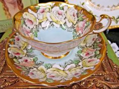 Vintage Footed Paragon Tea Cup and Saucer Cabbage Roses Gold Gilt Baby Blue Teacup Pattern - Teacup and Saucer Vintage Cups, Vintage Tea, Vintage China, Tea Cup Saucer, Tea Cups, Tea Time Magazine, Teapots And Cups, Royal Albert, My Cup Of Tea