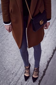 Fall Outfit, Camel Coat, Grey Skinny Jeans, Aquazzura Amazon Pumps, Gucci Marmont Handbag, Black Bell Sleeve Sweater