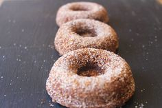 These maple doughnuts are dusted with a light sprinkling of cinnamon sugar.