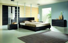 Bedroom, Bedroom Remodel With Green And Ywllow Color Combination For Wall And Ceramic Tile Flooring With Gray Soft Carpet Also Black Bedstead With Headboard And Cupboard: Modern Colors Scheme Of Design Theme Ideas For Inspiring Remodels Modern Bedroom