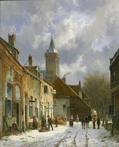 Adrianus Eversen - A Dutch street scene