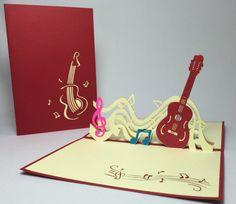 Guitar Pop Up Card. 3D Handmade Card. Congratulation Card. Guitar Birthday Card…
