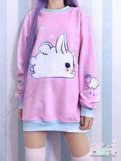 Bunicorn pink Oversized sweatshirt kawaii sweatshirt
