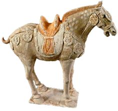 "An unglazed Tang Dynasty horse in excellent overall probably Bactrian (from the north of China). The original oxford thermolumiscence test is available upon request. 19.5"" h x 22"" w x 5.5"" d. Circa 618 - 907 AD. $29,900"