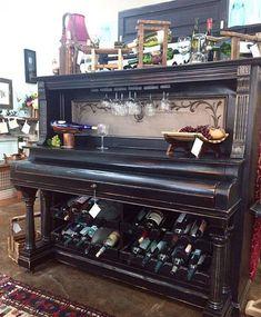 Repurposed Wine Bar Salvaged Antique Pump Organ Cabinet
