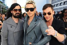 Tomo Milicevic, Jared Leto and Shannon Leto of 30 Seconds To Mars arrive at the MTV Video Music Awards on Sept. 12, 2010, in Los Angeles.