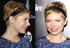Who says you can't rework a pixie cut? Michelle Williams went for a retro look by wearing a thick black headband with Deco crystal details, seen here at the 2012 Golden Globes.