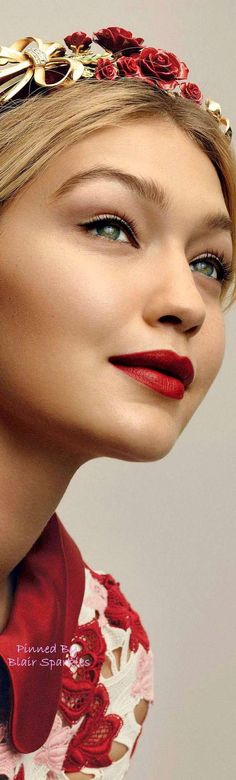 Gigi Hadid Vogue ♕♚εїз red lipstick,blonde, model, beautiful girl, beauty, makeup