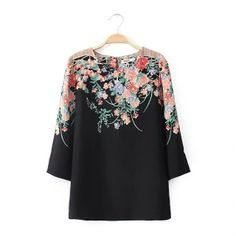 Round Collar 3/4 Sleeve Black VILLAGER print Cotton Vintage Blouses FV58