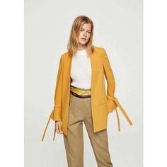 MANGO Flared sleeve blazer (€100) ❤ liked on Polyvore featuring outerwear, jackets, blazers, long blazer jacket, blazer jacket, bell sleeve jacket, long jacket and mango blazer