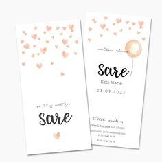 Trendy geboortekaartje met zalmroze waterverf hartjes en achterop een roze ballon. Lief geboortekaartje voor een meisje.