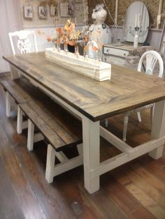 rustic table by Vintage Arrow. Call Kiss Makeup Boutique and . rustic table by Vintage Arrow. Call Kiss Makeup Boutique and . Rustic Wooden Farmhouse Table Set with Provincial Brown Top Farmhouse Table Plans, Farmhouse Dining Room Table, Dining Table With Bench, Rustic Table, Table Vintage, Bench For Kitchen Table, Rustic Chic, Dining Rooms, Farmhouse Style
