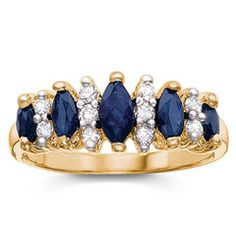Holsted Jewelers — Genuine Sapphire and Cubic Zirconia Marquise Band Ring