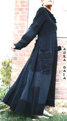 AuraGaia's Morrigan~ Poorgirl Boho Tattered Upcycled Long Dress L-2X Plus