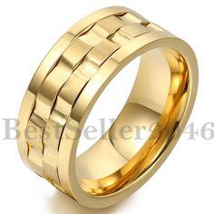 Edelstahl Ring Bandring Gold Golden Gravierte Gravur Welle Design Drehbar Herren