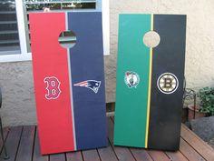 Cornhole Boards for a Boston fan