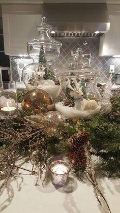 Easy and Elegant Christmas Decorating Ideas - Use Apothecary Jars - Home with Holliday It is that time of the year to start planning your holiday decor! Today, I am sharing several easy and elegant Christmas decorating ideas. Christmas Jars, Christmas Home, Christmas Holidays, Christmas Crafts, Christmas Trees, Christmas Island, Christmas Movies, Chicago Christmas, Christmas Glasses