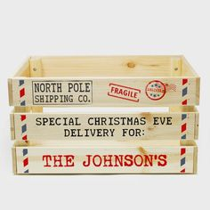 Christmas Eve Crate, Xmas Eve Boxes, Wooden Crates Christmas, Christmas Eve Box For Kids, The Night Before Christmas, Family Christmas, Creative Christmas Gifts, Baby Girl Christmas, Christmas Train