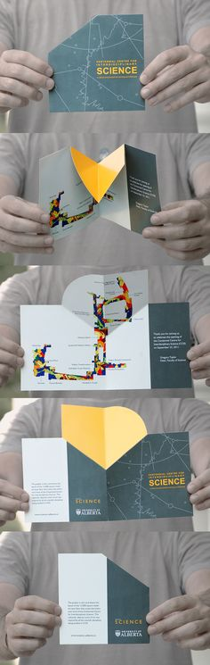 This brochure was created in collaboration with another Graphic Designer, Maria Goncharova, for the official opening of the Centennial Centre for Interdisciplinary Sciences (CCIS) at the University of Alberta (Edmonton, Canada). The objective was to creat…