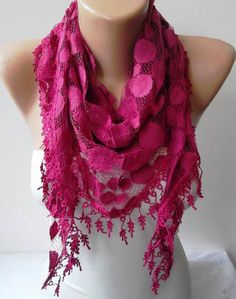 Fuchsia Lace and Elegance Shawl / Scarf  with Lace by SwedishShop, $17.90