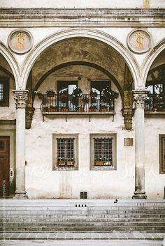 Renaissance architecture in Piazza SS Annunziata, Florence, Italy.
