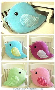 Items similar to Oversized Soft Plush Bird Parade Pet Pillow - Huggable Handmade Pillow for Baby Nursery decor, children playroom decor, unique birthday gift on Etsy Sewing Toys, Baby Sewing, Sewing Crafts, Sewing Projects, Craft Projects, Cute Pillows, Diy Pillows, Cushions, Throw Pillows