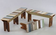 Image only.  Recycled wood benches.
