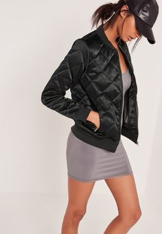 Quilted Satin Bomber Jacket Green