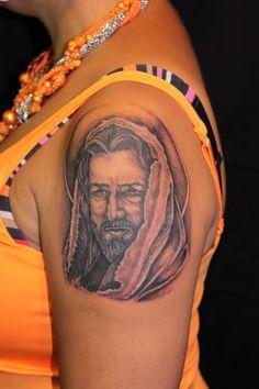 Jesus Christ Tattoo On Shoulder For Girls