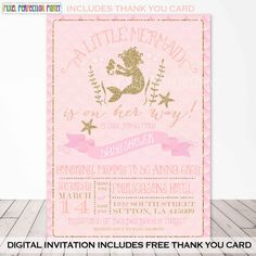 Hey, I found this really awesome Etsy listing at https://www.etsy.com/listing/230035682/mermaid-baby-shower-invitation-pink-and