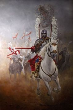 A Catholic Polish Winged Hussar under the proctetion of our Blessed Mother. Poland History, Knight Armor, Knights Templar, Modern Warfare, Dark Ages, Military Art, Our Lady, Ancient History, Cool Art