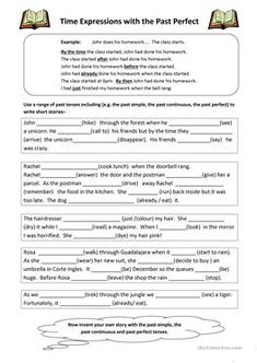 A worksheet to practice past tenses / narrative tenses. There is an easier gap fill exercise where students must put the verbs into the past simple, past continuous. Tenses Grammar, Grammar Exercises, Past Tense, Class Management, English Class, The Past, Printables, Esl, English Lessons