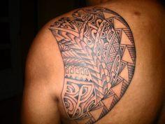 Shoulder Blade Tattoos – The Most Favorite Tattoo Spot : Polynesian Shoulder Blade Tattoos Design For Men