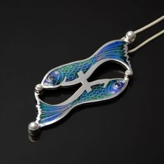 """Silver cloisonne pendant with zodiac sign """"The Pisces"""" in blue shades with sapphires and pearls. by SamaiaJewellery on Etsy"""