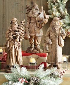 Santa figurines will add that touch of holiday spirit you're looking to incorporate into your room. HomeDecorators.com #holiday2014 #holidays
