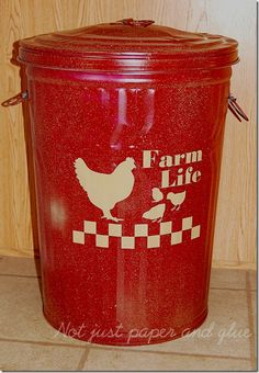 painted galvanized can - this one stores dog food & was painted to match room decor
