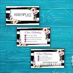 Honey and Lace Business Card - Agnes and Dora Punch Card, Custom Honey and Lace Business Card, Buy 10 Get 1 Free, Printable HN19